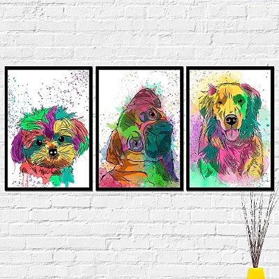 Kit Placa Decorativa - Cachorro Golden Pug Yorkshire