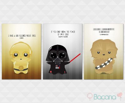 Kit Placa Decorativa - C3PO Darth Vader Chewbacca Star Wars