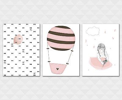 Kit Placa Decorativa - Laços Passarinhos Balão Menina