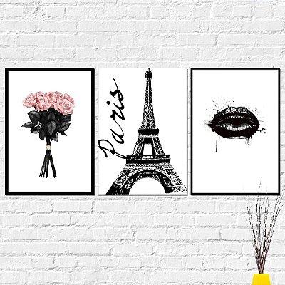 Kit Placa Decorativa - Flores Paris Boca