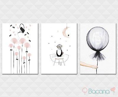 Kit Placa Decorativa - Flores Menina Balão