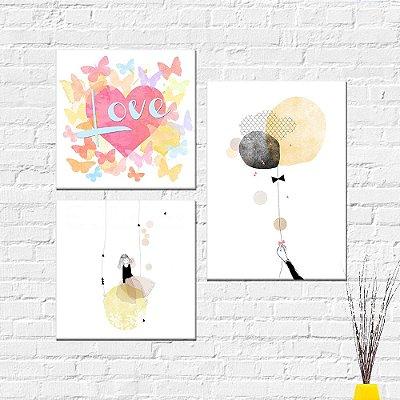 Kit Placa Decorativa - Love Menina Balão