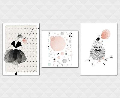 Kit Placa Decorativa - Menina Lacinhos Coruja