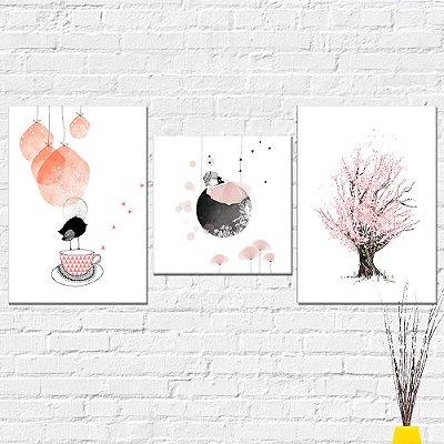 Kit Placa Decorativa - Árvore Menina Passarinho