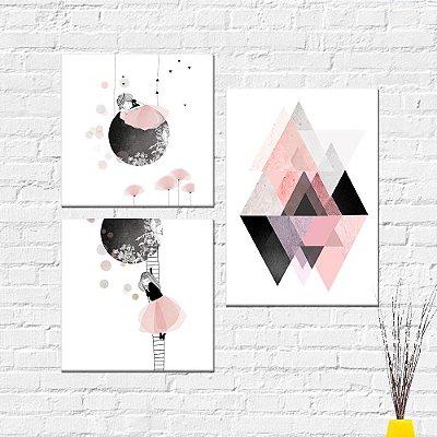 Kit Placa Decorativa - Abstrato Menina Flores