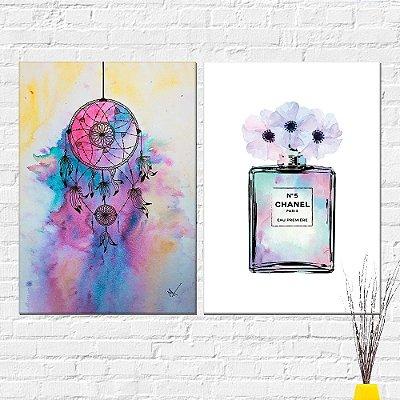 Kit Placa Decorativa - Perfume Channel Filtro Sonhos