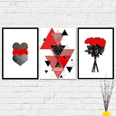 Kit Placa Decorativa - Abstrato Flores Corações