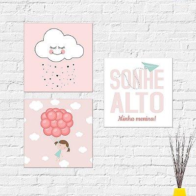 Kit Plaquinha Infantil - Menina Nuvem Frase Sonhe Alto