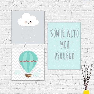 Kit Plaquinha Infantil - Nuvem Balão Frase Sonhe Alto