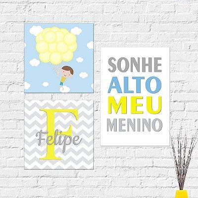 Kit Plaquinha Infantil - Menino Nome Frase Sonhe Alto