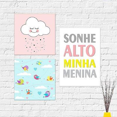 Kit Plaquinha Infantil - Nuvem Passarinhos Frase Sonhe Alto