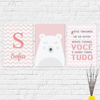 Kit Plaquinha Infantil - Nome Urso Frase