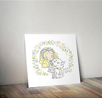 Plaquinha Decorativa - Menina Gato