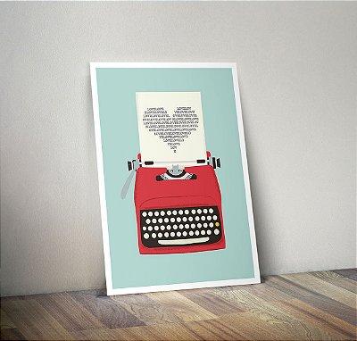 Plaquinha Decorativa - Máquina de Escrever Coração