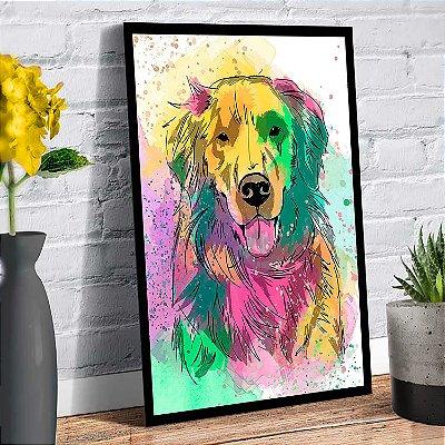 Plaquinha Decorativa - Cachorro Golden Retriver
