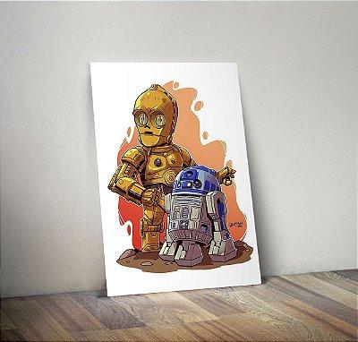 Plaquinha Decorativa - Star Wars C3PO R2D2