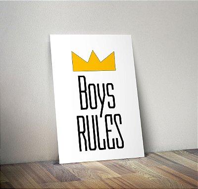 Plaquinha Infantil - Frase Boys Rules