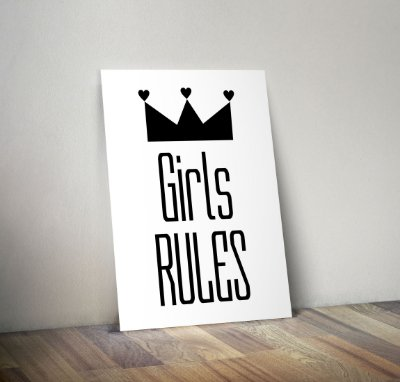 Plaquinha Infantil - Frase Girls Rules