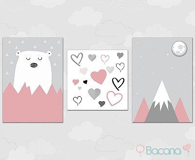 Kit Plaquinha Infantil - Urso Coração Montanha