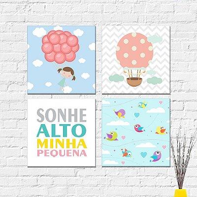 Kit Plaquinha Infantil - Sonhe Alto Passarinhos Balão Menina