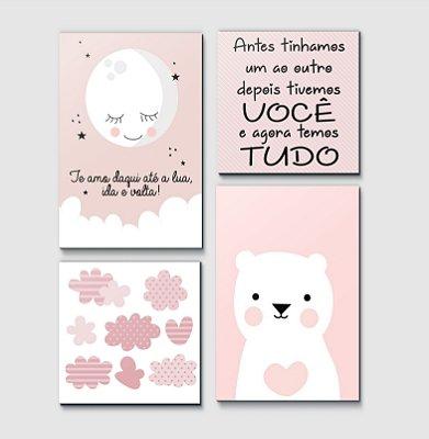 Kit Plaquinha Infantil - Lua Frase Nuvem Urso