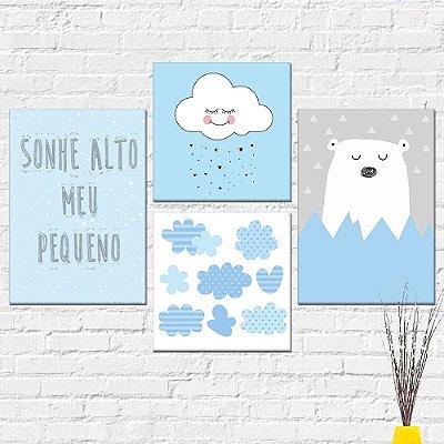 Kit Plaquinha Infantil - Urso Nuvem Sonhe Alto