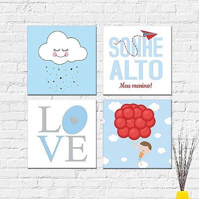 Kit Plaquinha Infantil - Love Menino Nuvem Sonhe Alto