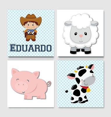 Kit Plaquinha Infantil - Nome Menino Ovelha Porco Vaca