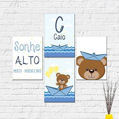 Kit Plaquinha Infantil - Nome Sonhe Alto Urso