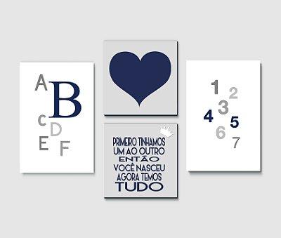 Kit Plaquinha Infantil - Números Letras Coração Frase