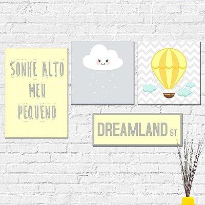 Kit Plaquinha Infantil - Sonhe Alto Balão Nuvem Dreamland