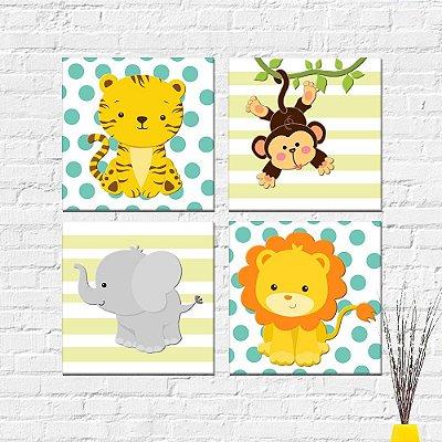 Kit Plaquinha Infantil - Animais Macaco Tigre Leão Elefante