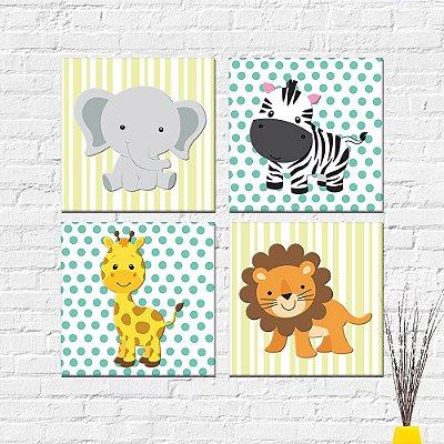 Kit Plaquinha Infantil - Animais Girafa Elefante Zebra Leão