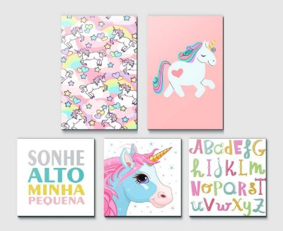 Kit Plaquinha Infantil - Unicórnio Letras Sonhe Alto
