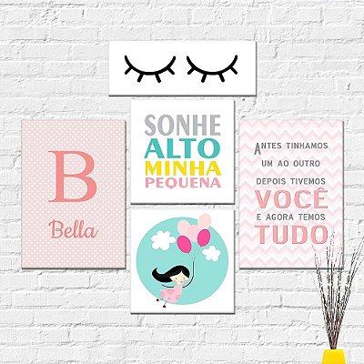 Kit Plaquinha Infantil - Nome Menina Frase Cílios