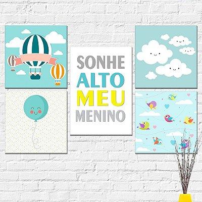 Kit Plaquinha Infantil - Sonhe Alto Nuvem Balão Passarinho