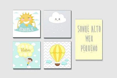 Kit Plaquinha Infantil - Nome Balão Nuvem Sonhe Alto