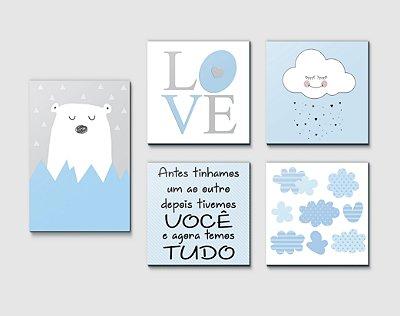 Kit Plaquinha Infantil - Urso Love Nuvem