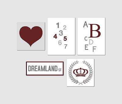 Kit Plaquinha Infantil - Coração Letras Números Coroa Dreamland