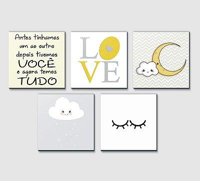 Kit Plaquinha Infantil - Frase Love Nuvem Cílios