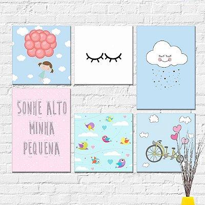 Kit Plaquinha Infantil - Cílios Nuvem Menina Sonhe Alto