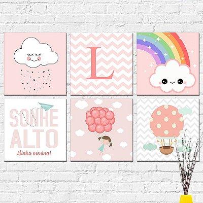 Kit Plaquinha Infantil - Letra Balão Nuvem Sonhe Alto