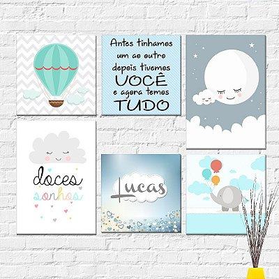 Kit Plaquinha Infantil - Lua Balão Nome Doces Sonhos