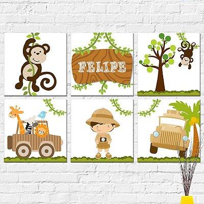 Kit Plaquinha Infantil - Safari Macaco Nome Jipe Menino