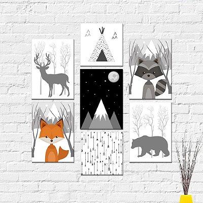 Kit Plaquinha Infantil - Raposa Montanha Guaxinim Urso