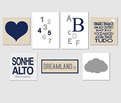 Kit Plaquinha Infantil - Números Letras Coração Sonhe Alto