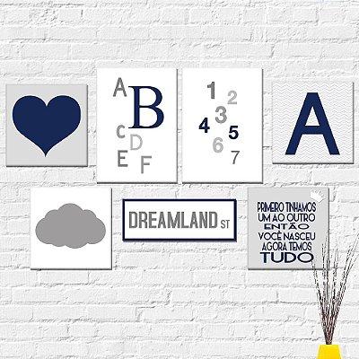 Kit Plaquinha Infantil - Números Letras Coração Letra