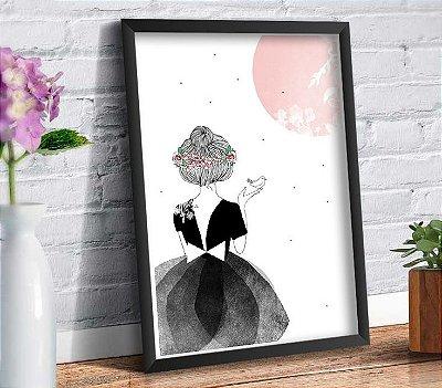 Quadro Decorativo - Menina Lua Passarinho