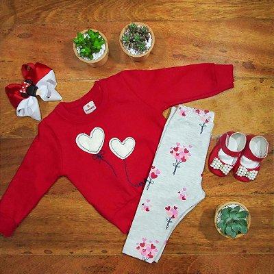 Conjunto Blusa e Legging Balão de Corações