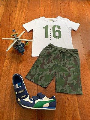 Conjunto Camiseta 16 E Bermuda Camuflada